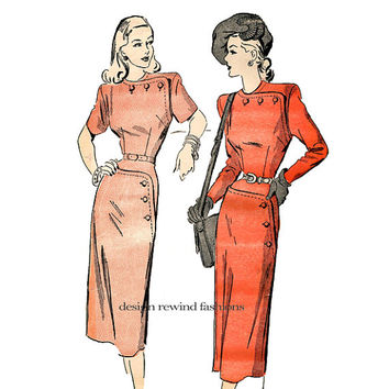 40s DRESS PATTERN Asymmetrical Fitted Wiggle Dress Frock with Button Detail Bust 38 Advance 4748 Women's Plus Size Vintage Sewing Patterns