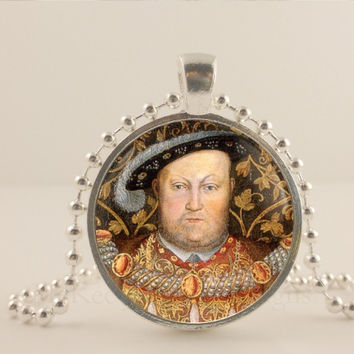 Tudor history, Henry the Eighth, King of England. 1 inch glass and metal pendant necklace Jewelry.