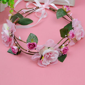 Pink Floral Tie Back Headband