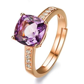 Wedding Bands Jewelry Gold-color Ring Cubic Zirconia Paved Purple Gem Stone Engagement Rings Luxury Jewelry For Women Gift