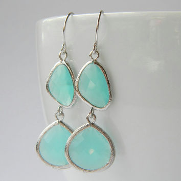 Aqua Mint Earrings  Ice Blue Earrings  Silver by DanaCastle