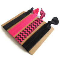 Elastic Hair Ties Pink Black and Chevron Yoga Hair Bands
