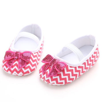 3 Colors 3 Sizes Newborn Baby Infant Toddler Girls Princess Gingham Mary Jane Bling Bling Bow Very Light Prewalkers Ballet Shoes NW