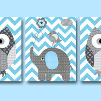Owl Wall Art Elephant Wall Art Kids Wall Art Children Wall Art Baby Room Decor Kid Print Baby Boy Nursery Art Print set of 3 11x14 Gray Blue