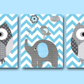 Kids Wall Art Owl Wall Art Elephant Wall Art Baby Boy Nursery Art Print Children Wall Art Baby Room Decor Kids Print set of 3 8x10 Gray Blue