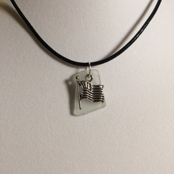 Faded Glor Galveston  Texas Frosty White Sea Glass American Flag Charm Necklace ,Texas Beach Glass, Mermaid Tears, Sea Glass jewelry