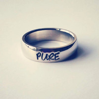"Purity ring, Personalized Ring, Engraved Ring, Personalized/Engraved Ring "" Wedding Band Style"", name Ring, Class Ring"