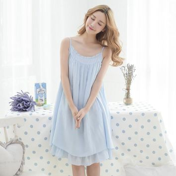 2017 Spring Summer Girls Ladies Comfortable Loose Ruffles soft White princess  suspender Nightdress SleepwearSY034