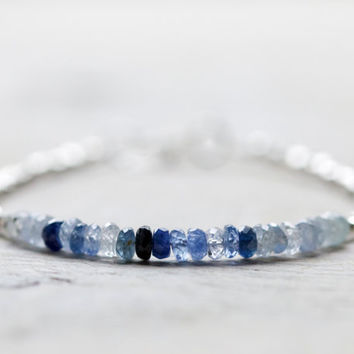 Blue sapphire bracelet: blue beaded bracelet - September birthstone jewelry