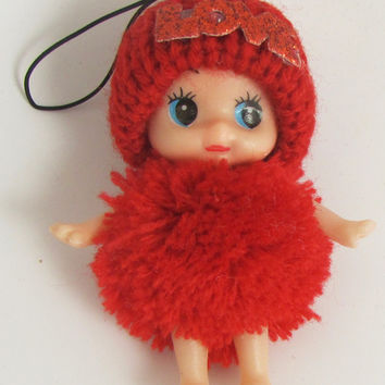 "Child Adorable Ornament Red Puff Ball Dress and Hat says Love  3"" x 2"""