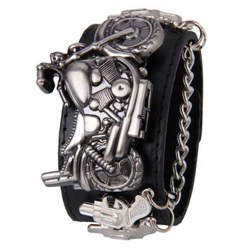 Attractive Synthetic Leather and Stainless Steel Punk Rock Chain Skull Band Unisex Bracelet Cuff Gothic Wrist Watch OT14