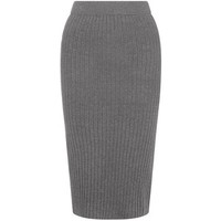 Grey Rib Knit Pencil Skirt