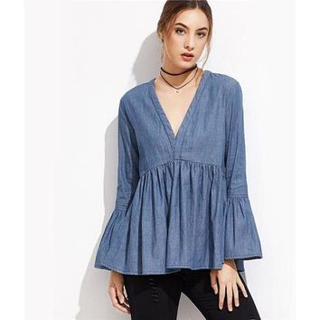 Flared Sleeve Peplum Denim Top