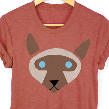 Geo Siamese Cat Tee - Boyfriend Fit Crew Neck T-shirt with Rolled Cuffs in Heather Clay and Brown - Women's Size S-4XL