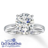 The Leo Diamond 3 Carat Solitaire Ring 14K White Gold