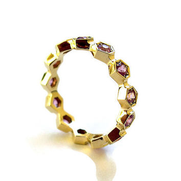 Unique Engagement Ring, Eternity Ring with Pink Sapphire, 14k Yellow Gold Ring, Hexagon Ring, Geometric Ring