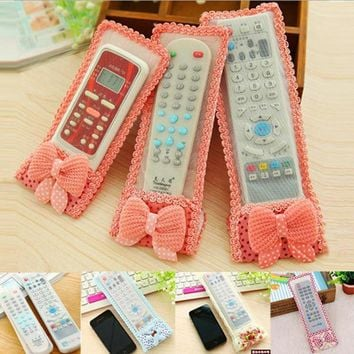 Lace Fabric Storage Bags Home TV Remote Control Dust Cover Protective Air Conditioning Control Holder Waterproof Dust Bags Bow