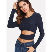 Cut Out Crop Ribbed Tshirt