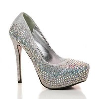 Nataly Silver By Bella Luna, Rhinestone Studded Platform Stiletto Pumps