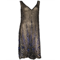 1920s Beaded Silk Tulle Over-Dress with Heavy Beading and Sequins