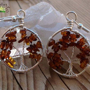 Tree of Life Earrings - Dark Baltic Amber - Made to Order - Silver Plated - Tree of Life Jewelry