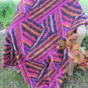 Tie Dye Geometric Modern Fleece Lap or Throw Blanket - Lap Blanket, Stadium Blanket. Throw - Orange, Purple, Black, White. Pink