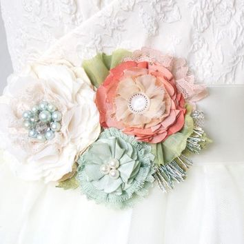 Bridal Sash ~ Mint and Coral Blossoms