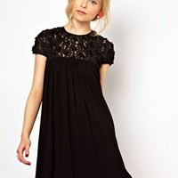 Lydia Bright Swing Dress with Applique Detail at asos.com