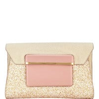 Leather and Glitter Envelope Clutch