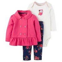 Baby Girls' 3-Piece Cardigan Set Pink Floral Owl -Just One You™ Made by Carter's®