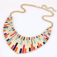 FAMSHIN 2017 New Women Men Jewelry Punk Gold Fanshaped Torques Enamel Statement Necklaces Pendants
