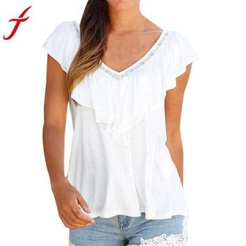 VOND4H Women Ruffle Blouse  V Neck Sleeveless Shirt Beach Holiday Casual Simple Solid  Top
