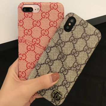 GUCCI Tide brand card holder couple models iPhone7plus leather protective cover F0940-1