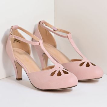 Rose Pink T-Strap Cut Out Kitten Heels