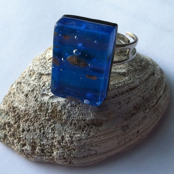 Vintage Blue, Purple, Copper Dichroic Glass and Silver Tone Ring, Blue Ring, Ocean Ring, Beach Ring, Summer Ring, Minimalist Ring, Birthday