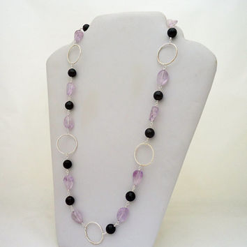 Garnet and Fluorite Necklace, Long Gemstone Necklace, Lilac and Deep Red Necklace