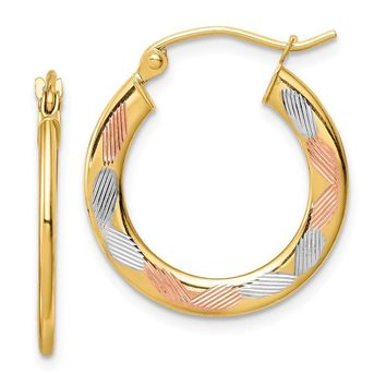 14k Yellow Gold Tri-color Diamond-cut Hoop Earrings