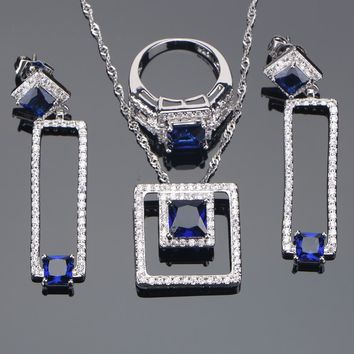 925 Sterling Silver Bridal Jewelry Sets Blue Stone CZ Earrings For Women Bracelet Rings Pendant Necklace Set Gifts Jewelry Box