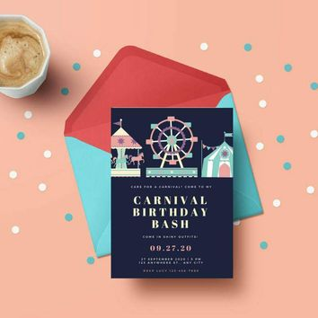 Kids birthday card - 5x7 print at home, Carnival & Circus