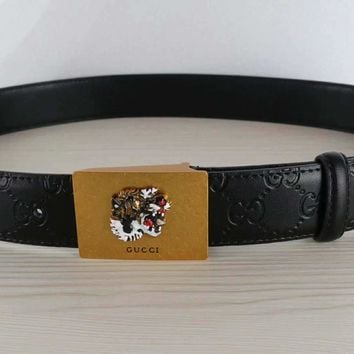 """Gucci"" Unisex Fashion Classic Tiger Metal Letter Plate Buckle Belt"