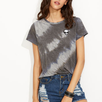 Grey Tie Dye Print Alien Patch T-shirt