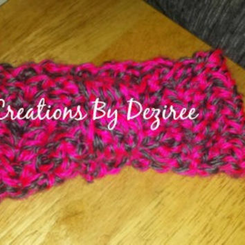 READY TO SHIP! Handmade crochet pink and gray headwrap!  Perfect for stocking stuffers!
