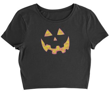 Jack O' Lantern Face with Skulls Cropped T-Shirt