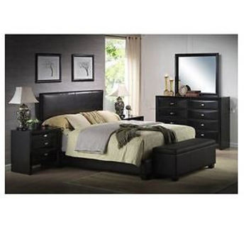 Modern King Size Leather Faux Bed Frame Bedroom Headboard Furniture Platform NEW