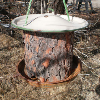 Rustic Bird Feeder with Enamel Ware Lid by Bullmountaindesigns