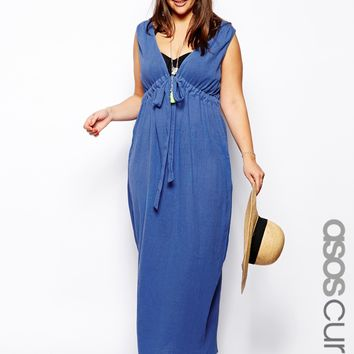 ASOS CURVE Exclusive Beach Maxi Dress In Cheesecloth
