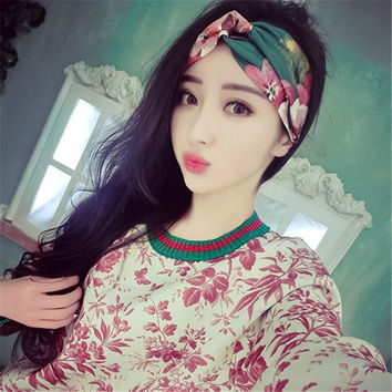 New Women scrunchy Flora Handmade Headband Cute Dot Flower Turban Girls Scrunchy Hairband Headband Hair Accessories