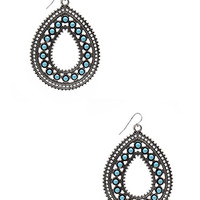 FOREVER 21 Filigree Teardrop Earrings Antic Silver One
