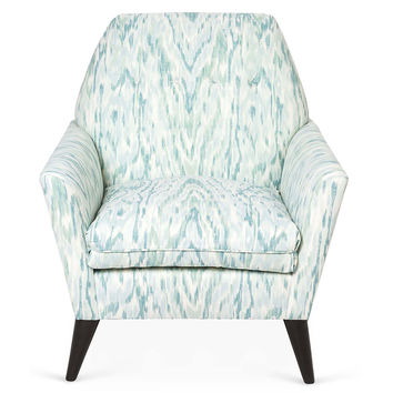Porter Ikat Chair, Aqua, Club Chairs