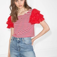 & Other Stories | Ruffle Sleeve Jersey Top | Red/Striped